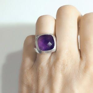 Vintage Faceted Sterling Amethyst Ring